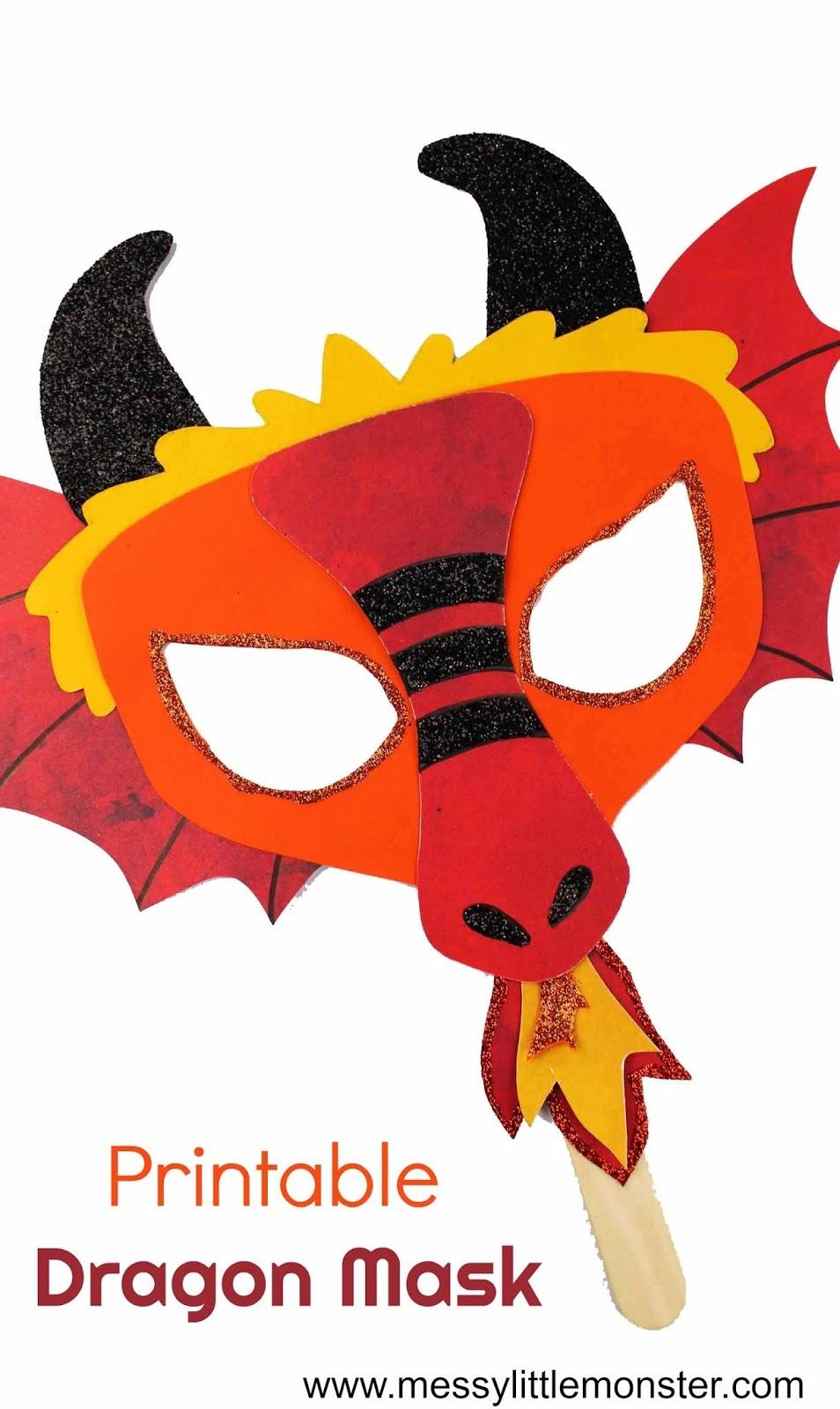 Chinese Dragon Mask - A Fun Printable Dragon Craft - Messy Little - Dragon Mask Printable Free