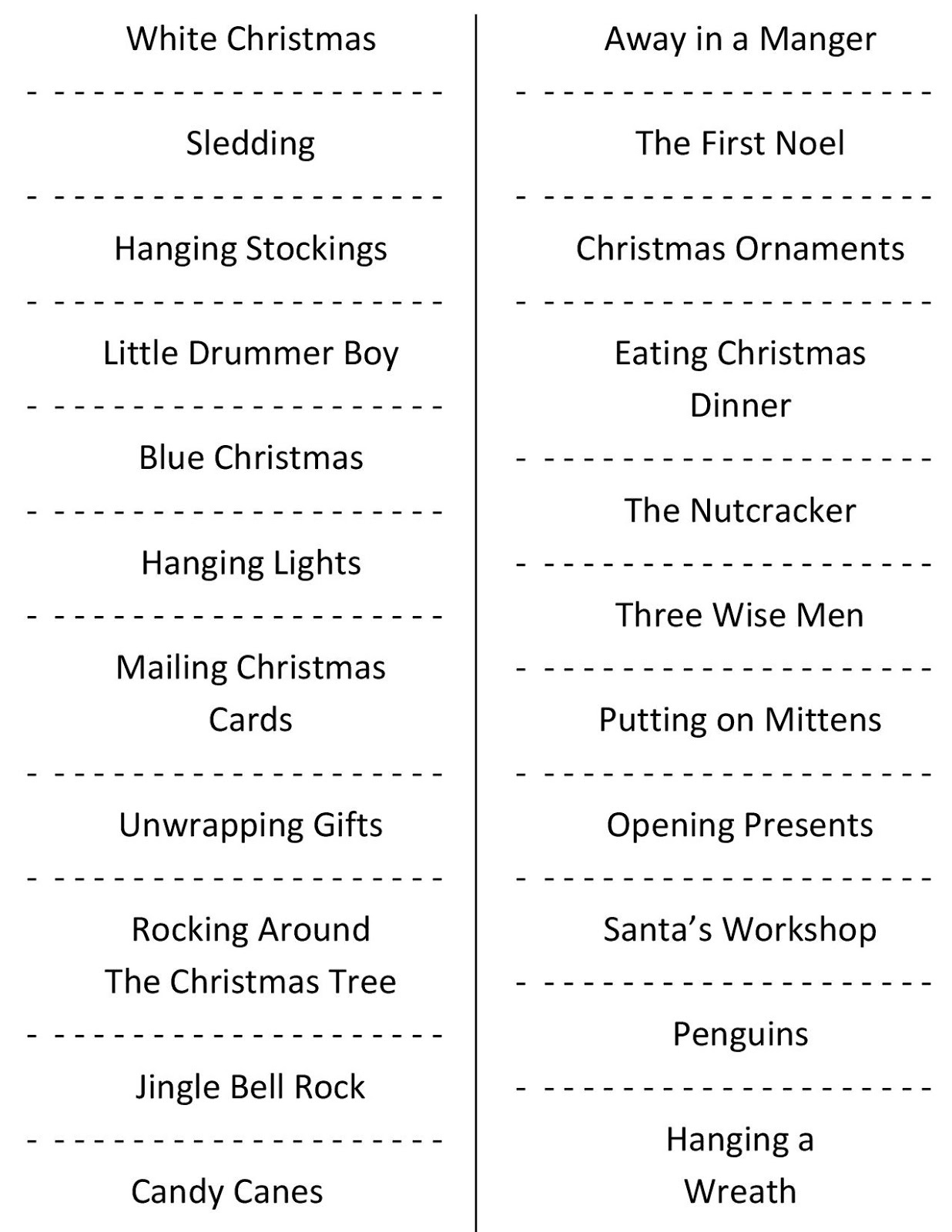 Christmas Charades (Free Printable Party Game) - Free Printable Christmas Plays Church