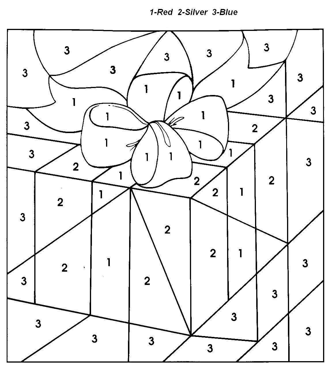 Christmas Coloring Pages With Numbers   Chrismast And New Year - Free Printable Christmas Color By Number Coloring Pages
