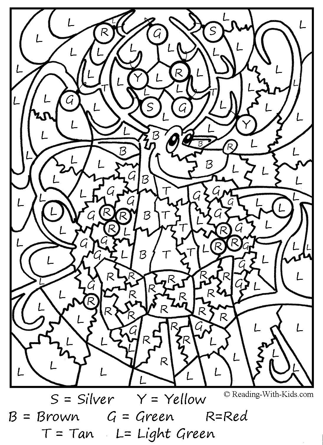 Christmas Colornumber Coloring Pages Printable   Coloring Pages - Free Printable Christmas Color By Number Coloring Pages