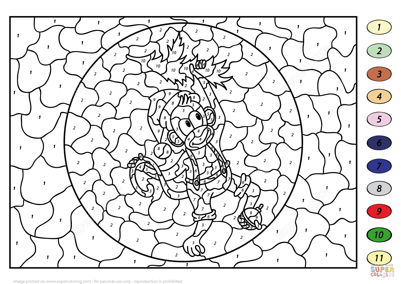 Christmas Monkey Colornumber   Free Printable Coloring Pages - Free Printable Christmas Color By Number Coloring Pages