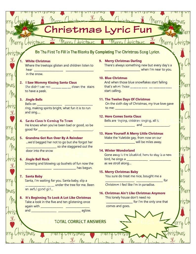 Christmas Song Game Christmas Music Game Christmas Carol | Etsy - Christmas Song Scramble Free Printable