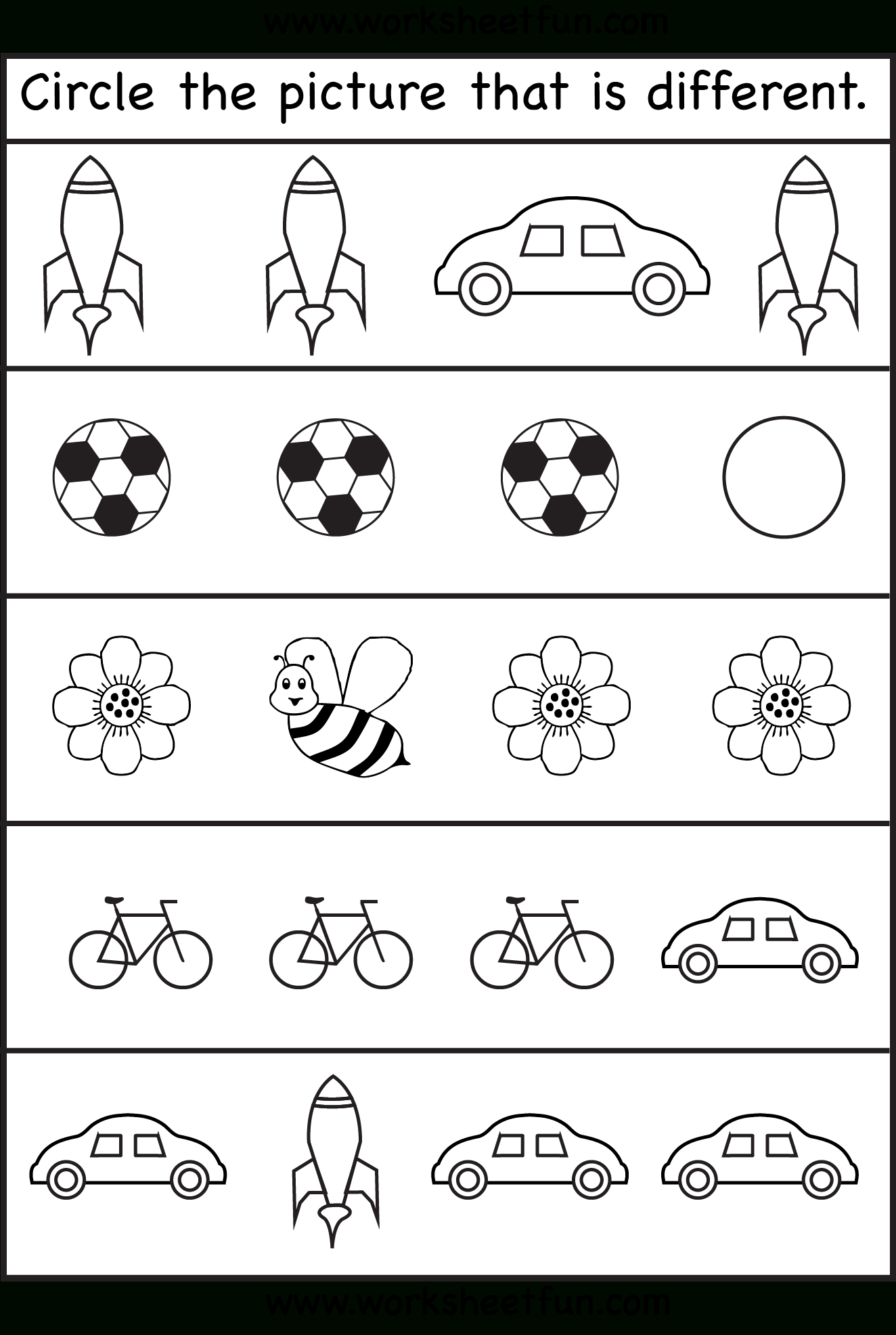 Circle The Picture That Is Different - 4 Worksheets | Preschool Work - Free Printable Same And Different Worksheets