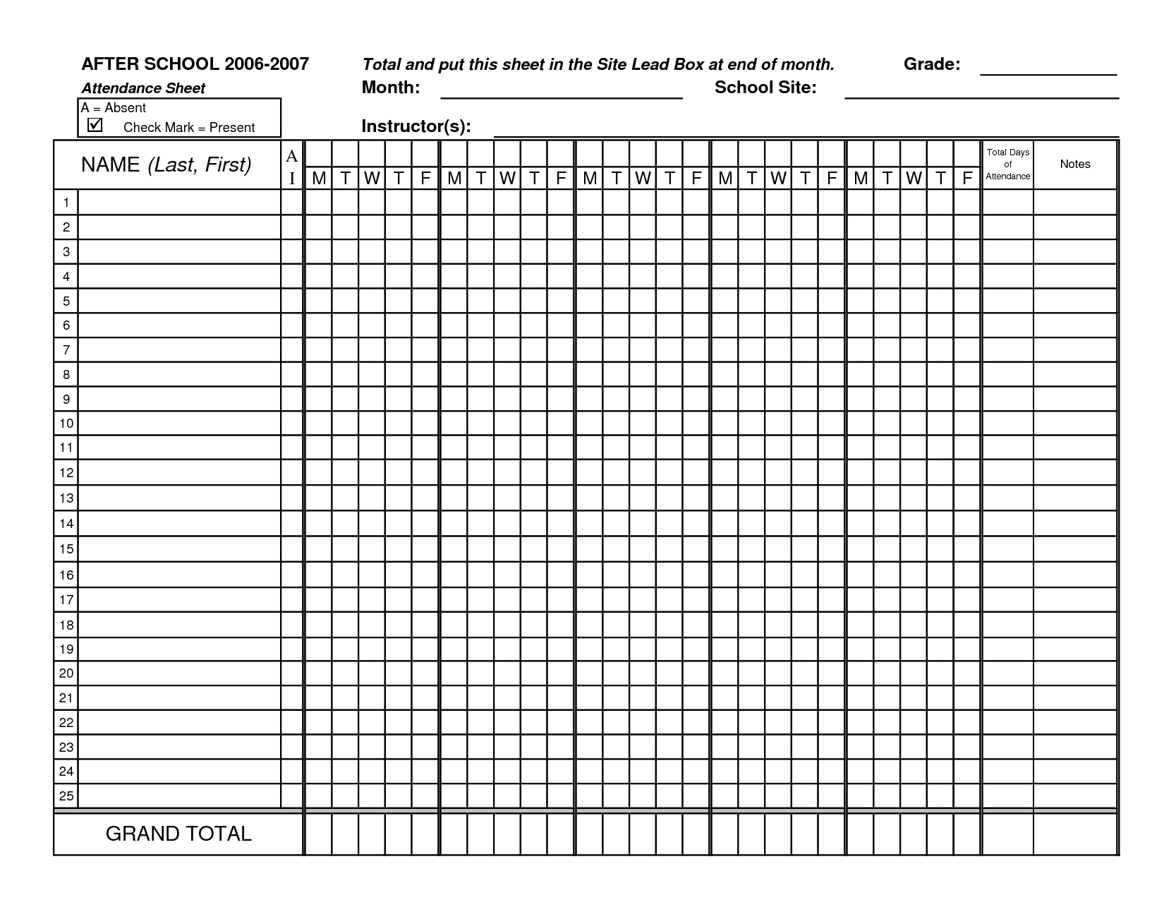 Classroom Attendance Sheets | Class Attendance Sheets - Excel - Free Printable Attendance Forms For Teachers