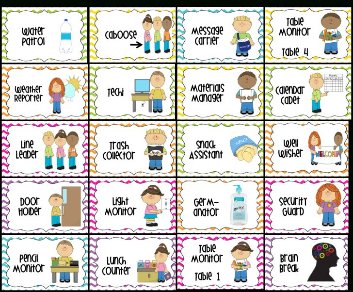 Preschool Classroom Helper Labels Free Printable