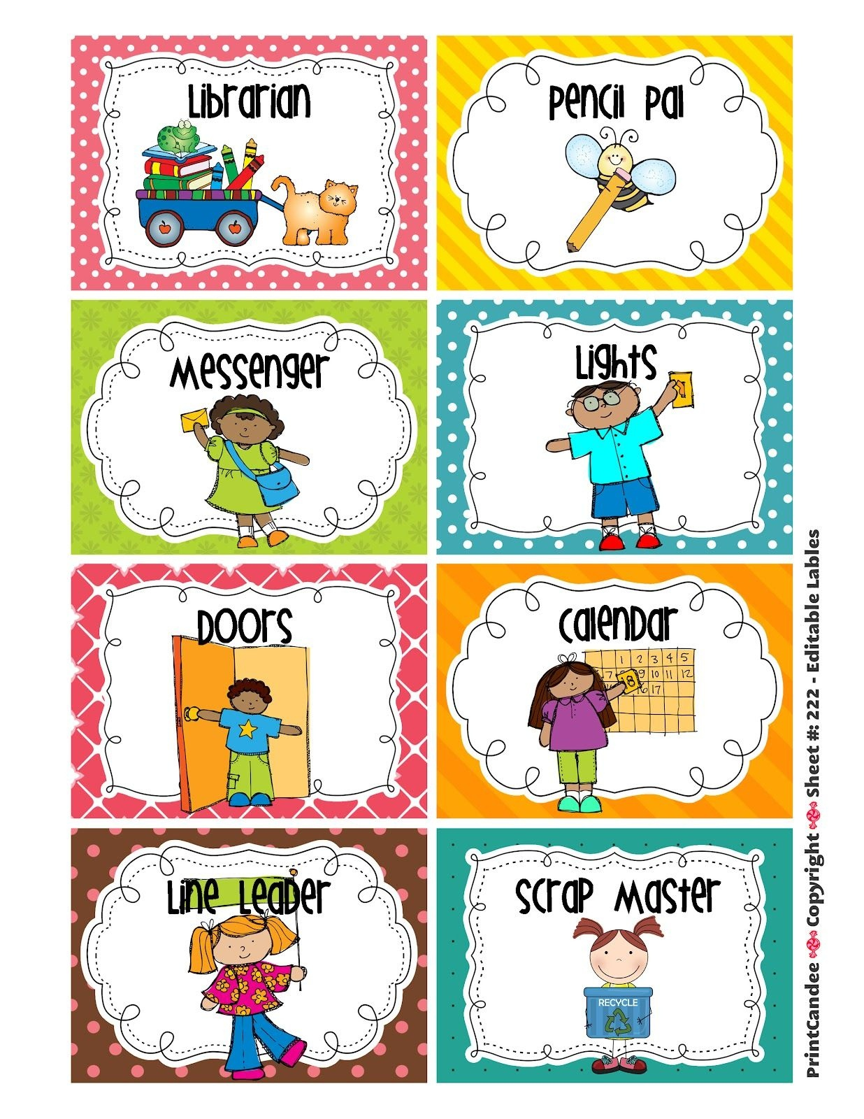 Cleaning Classroom Clipart | Classroom Job Chart | Classroom Helpers - Free Printable Classroom Helper Signs