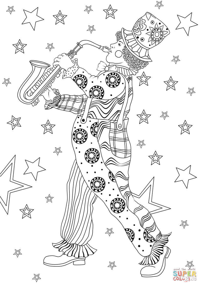 Clown From Mardi Gras Carnival Coloring Page | Free Printable - Free Printable Mardi Gras Games