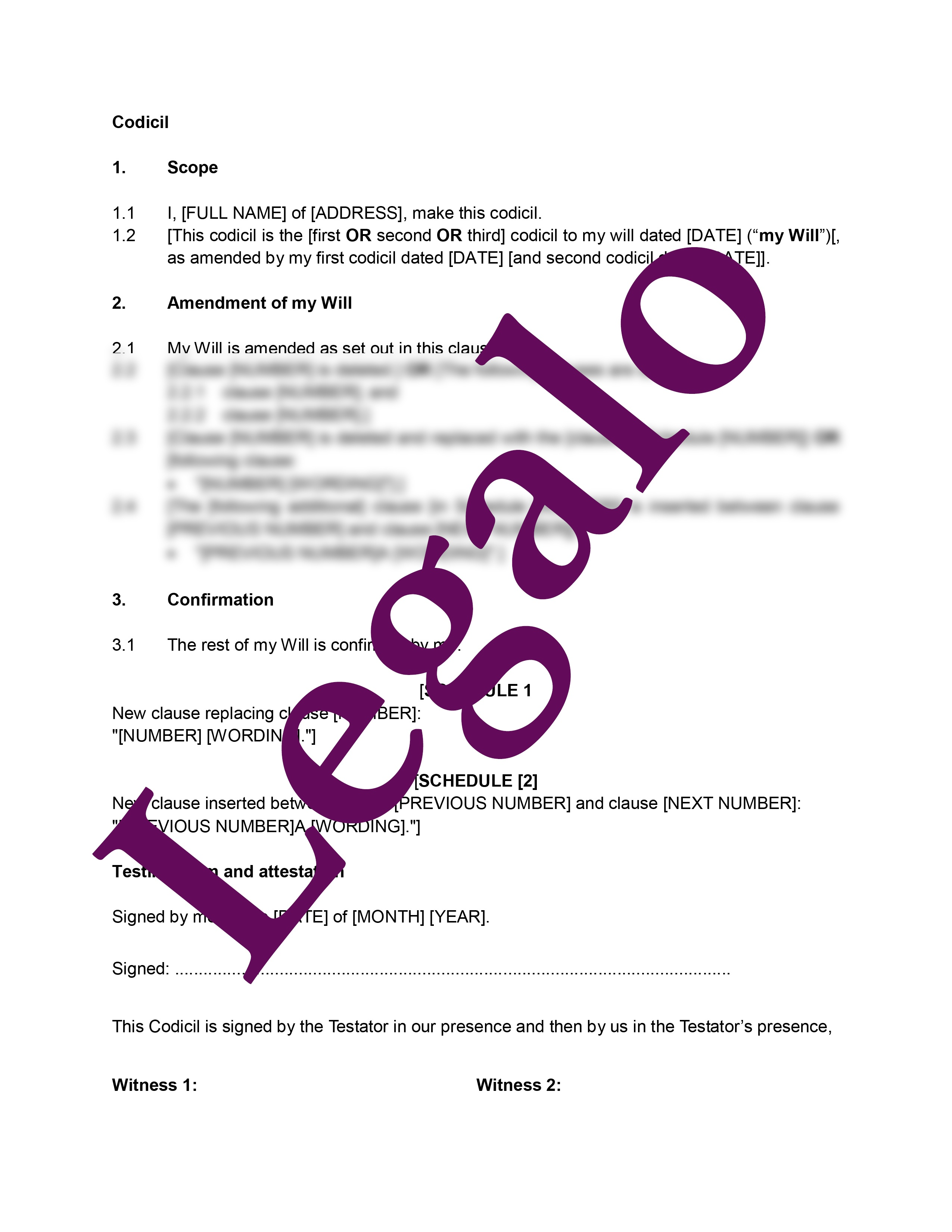 Codicil Template - Use This Template Form To Vary Your Will - Legalo - Free Printable Codicil Form