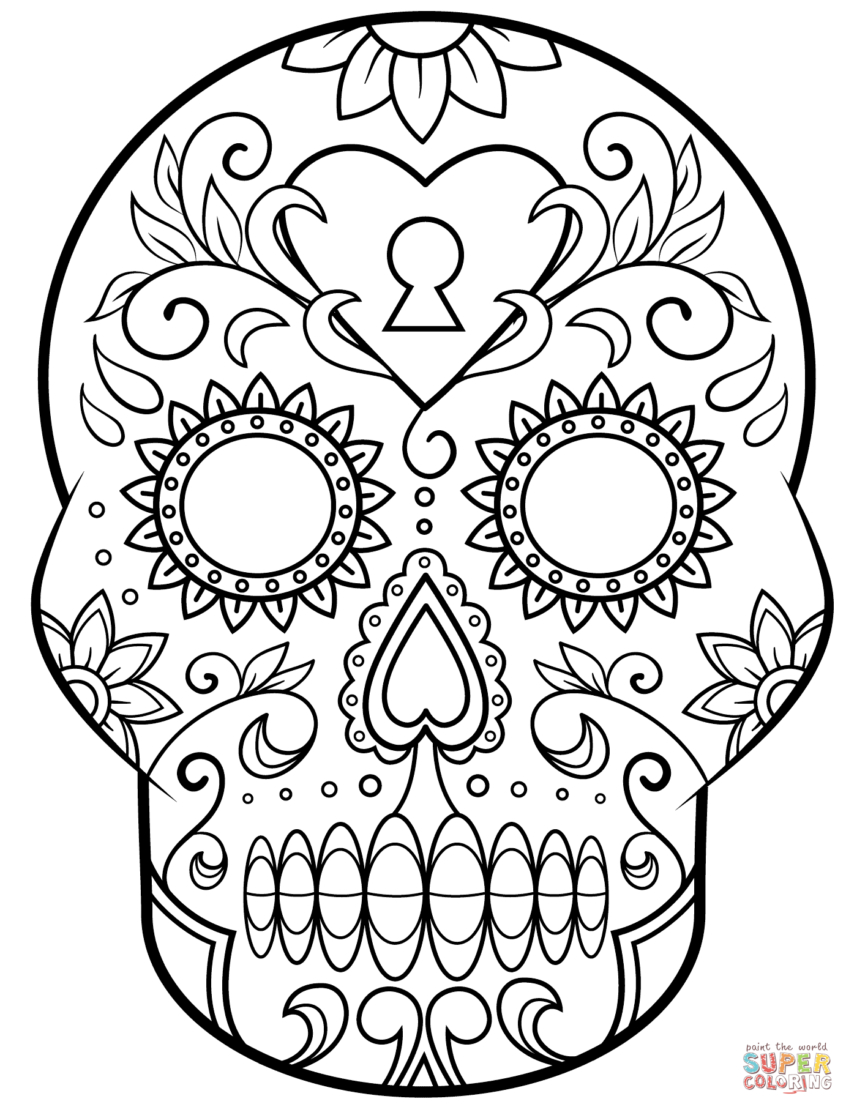 Coloring Pages Ideas: Day Of The Sugar Skull Coloring Page Free - Free Printable Sugar Skull Day Of The Dead Mask