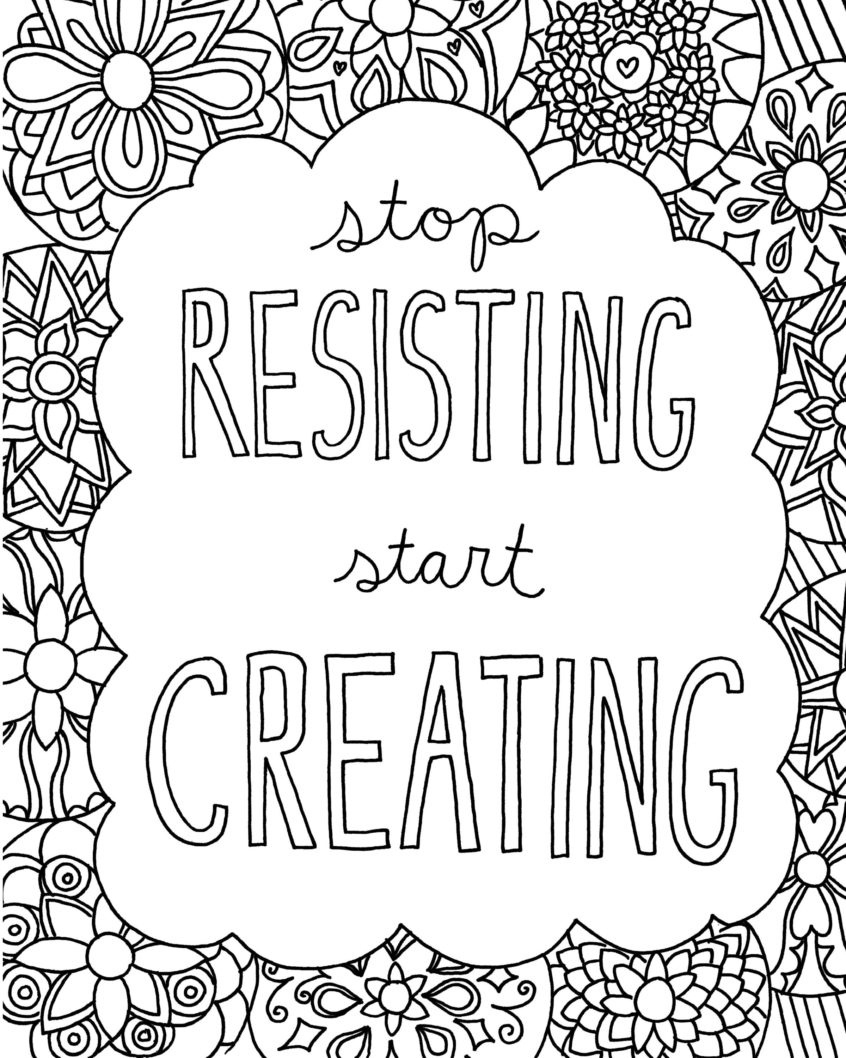 Coloring Pages Ideas: Free Printable Quote Coloring Pages For Grown - Free Printable Inspirational Coloring Pages