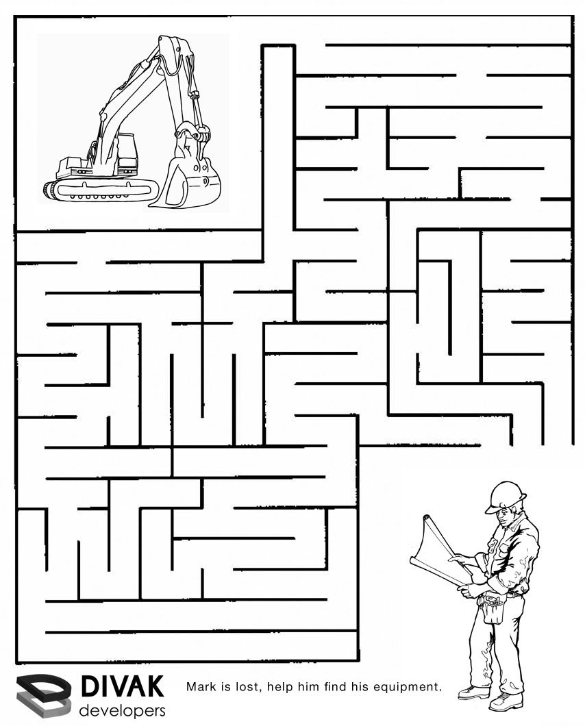Construction Maze | Summer Camp Construction | Mazes For Kids, Mazes - Free Printable Puzzles For Kids