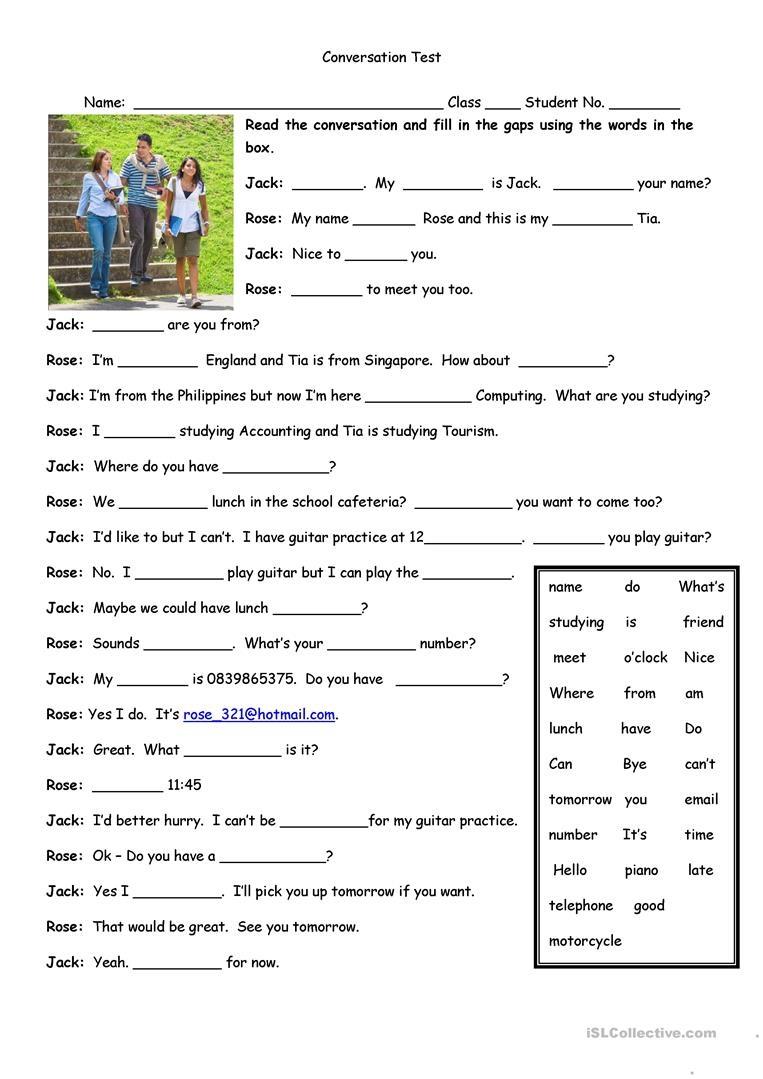 Conversation Test Worksheet - Free Esl Printable Worksheets Made - Free Printable English Conversation Worksheets