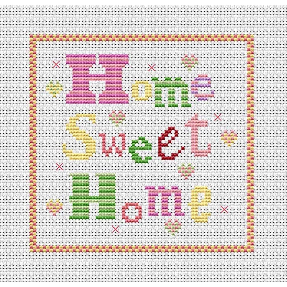 Cross Stitch Patterns Free Printable   Home Sweet Home Free Chart - Needlepoint Patterns Free Printable