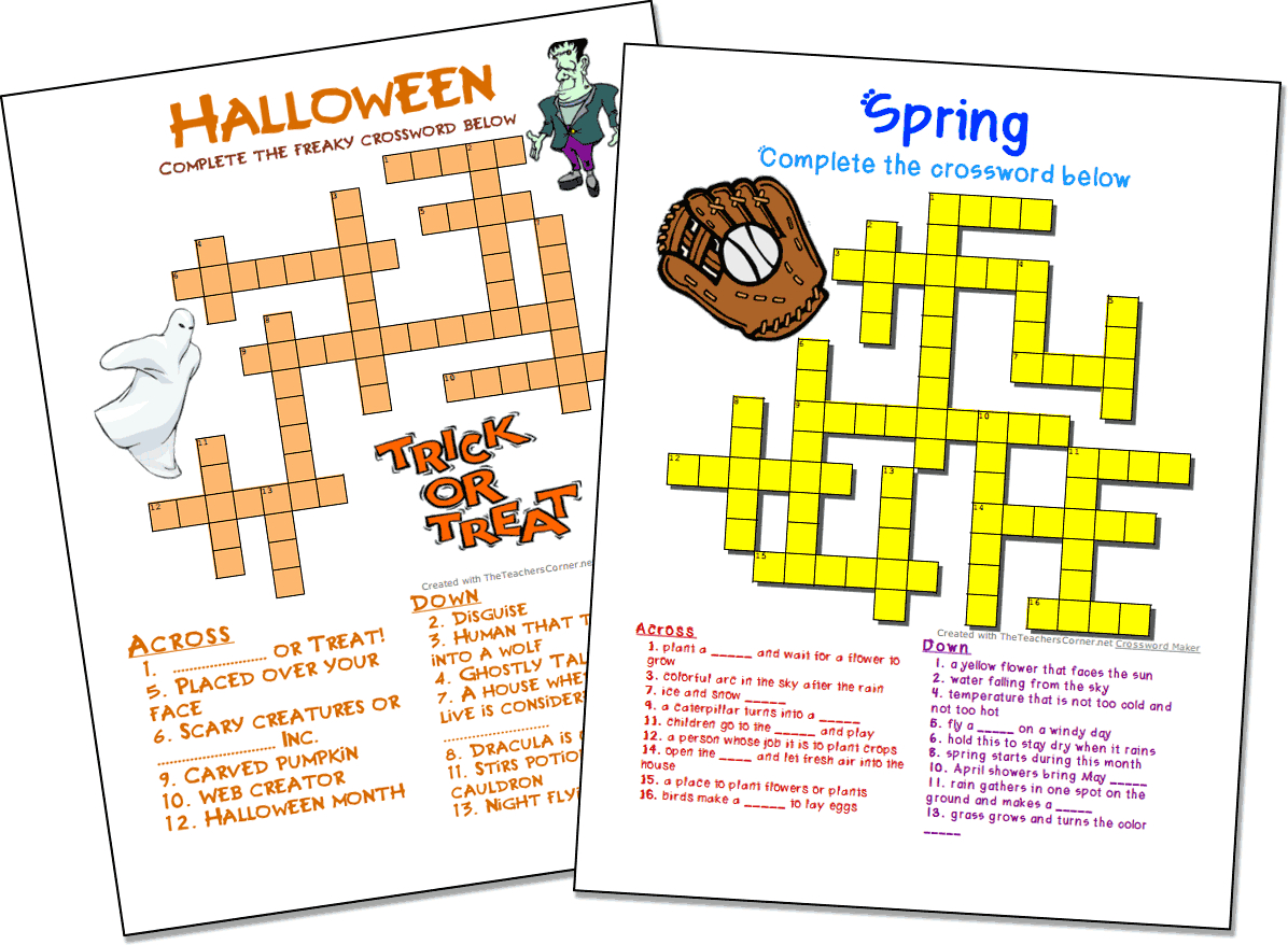 Crossword Puzzle Maker   World Famous From The Teacher's Corner - Free Crossword Puzzle Maker Printable