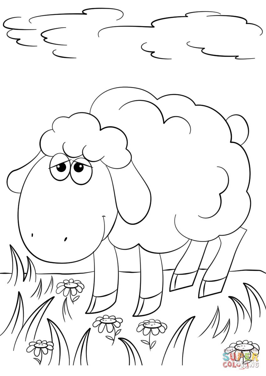 Cute Cartoon Lamb Coloring Page   Free Printable Coloring Pages - Free Printable Pictures Of Sheep