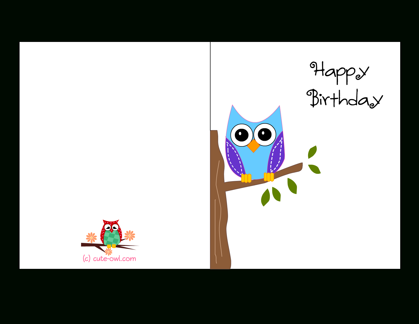 Cute Owl Sitting On A Branch Happy Birthday Card | Favorite - Free Printable Birthday Cards For Her