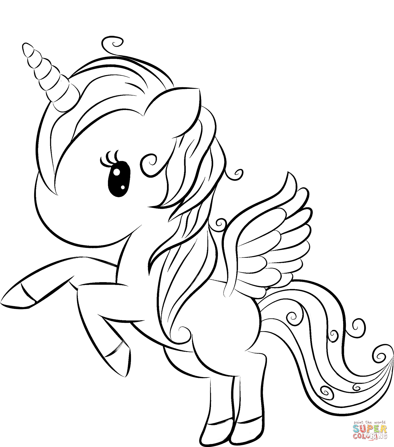Cute Unicorn Coloring Page | Free Printable Coloring Pages - Free Printable Unicorn Coloring Pages