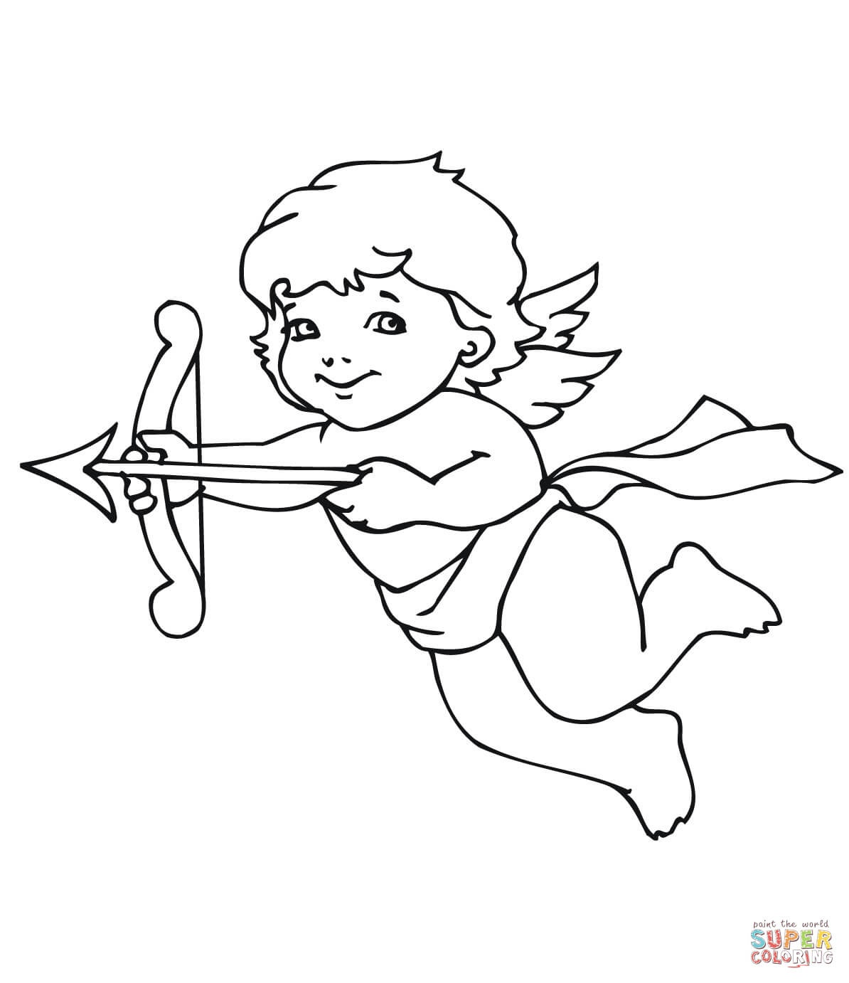 Cute Valentine Cupid Coloring Page | Free Printable Coloring Pages - Free Printable Pictures Of Cupid