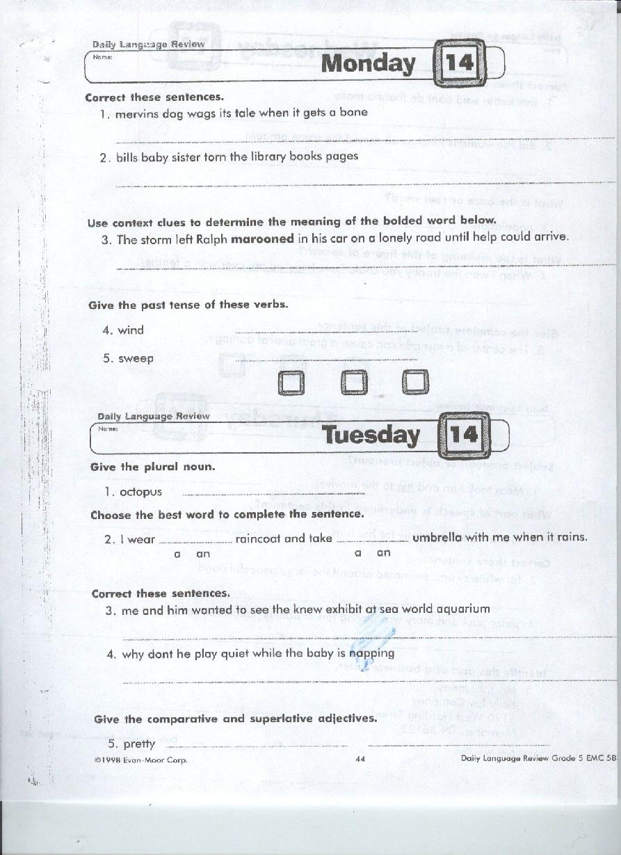 Daily Geography Grade 5 Printables. Printable. Free Printable Worksheets - Daily Language Review Grade 5 Free Printable