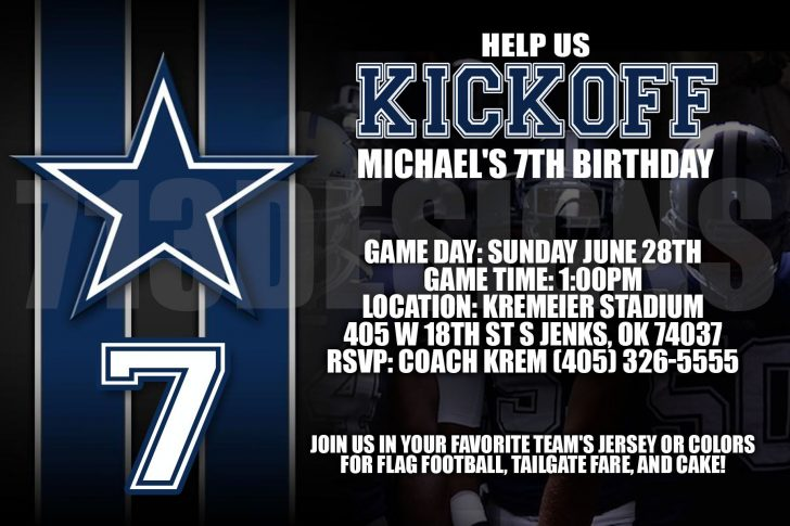 Free Printable Dallas Cowboys Birthday Invitations