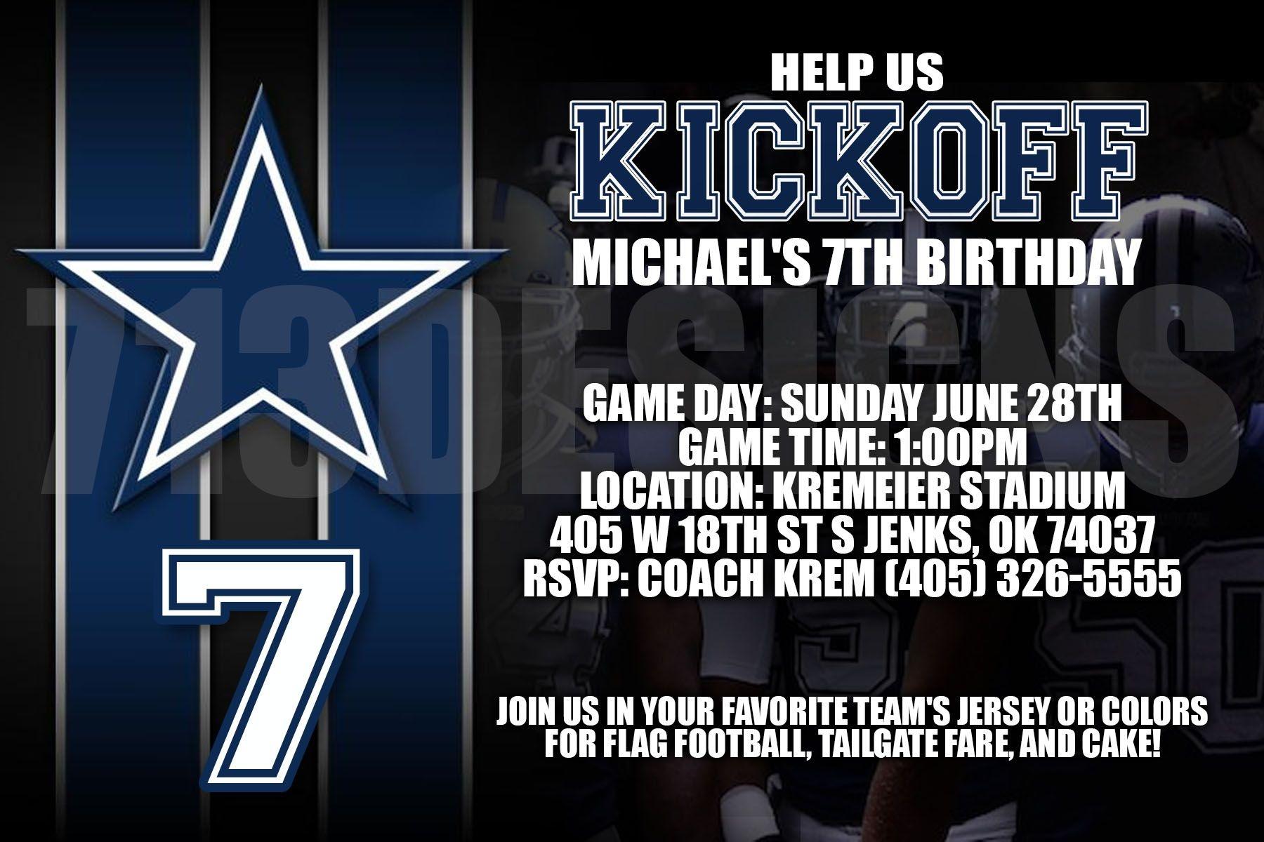 Dallas Cowboys Birthday Invitation | Invitations | Cowboy Birthday - Free Printable Dallas Cowboys Birthday Invitations