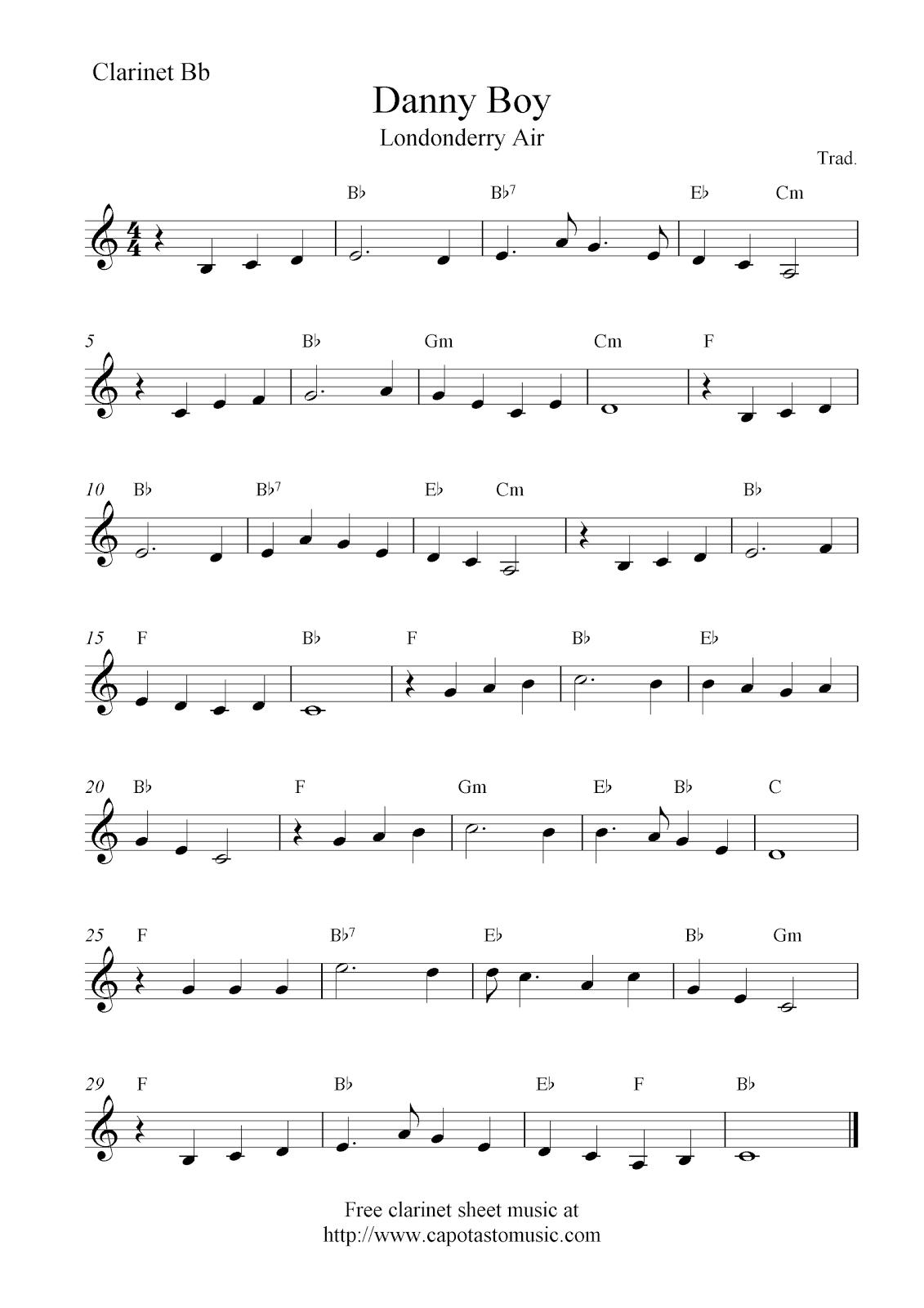 Danny Boy (Londonderry Air), Free Clarinet Sheet Music Notes - Free Printable Clarinet Music