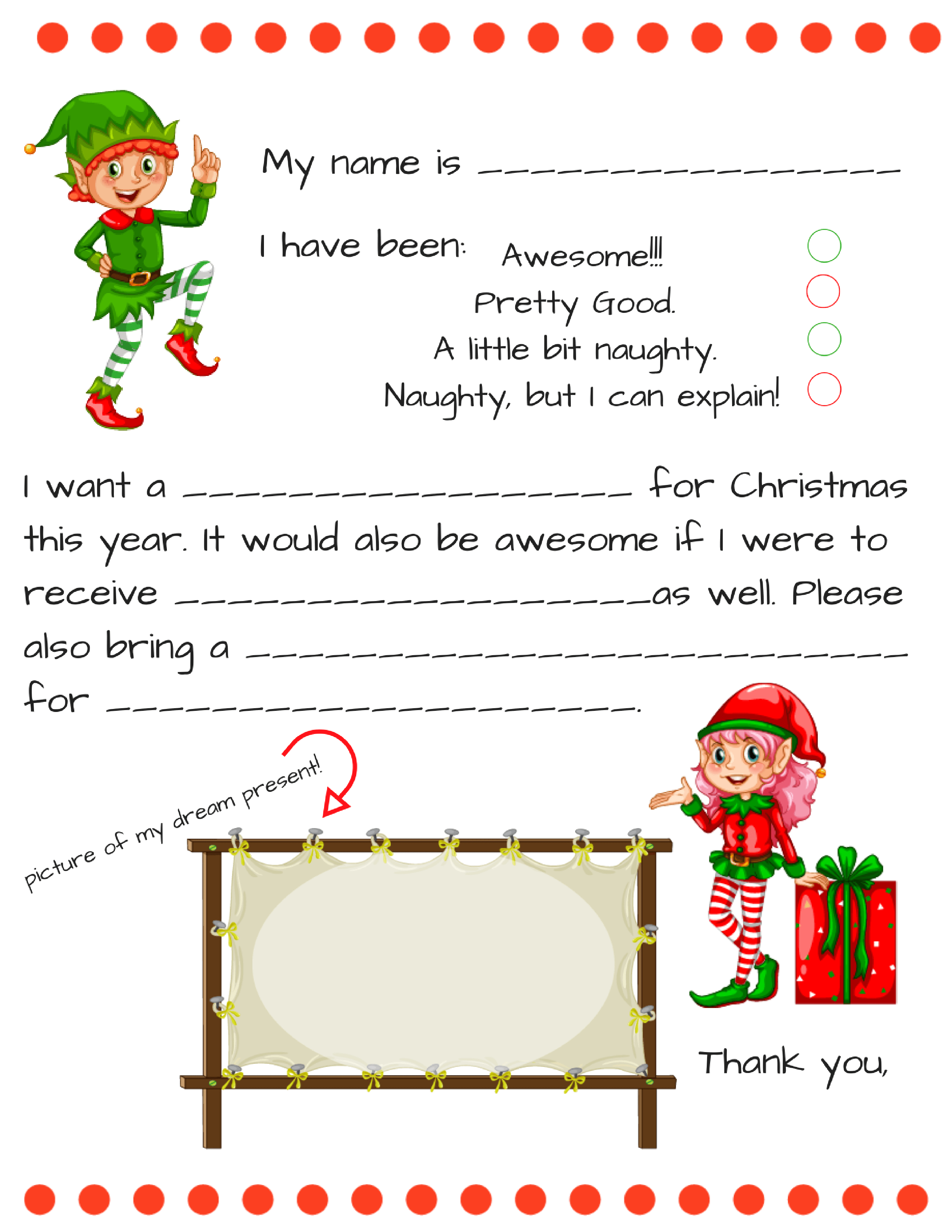 Dear Santa Fill In Letter Template - - Free Santa Templates Printable