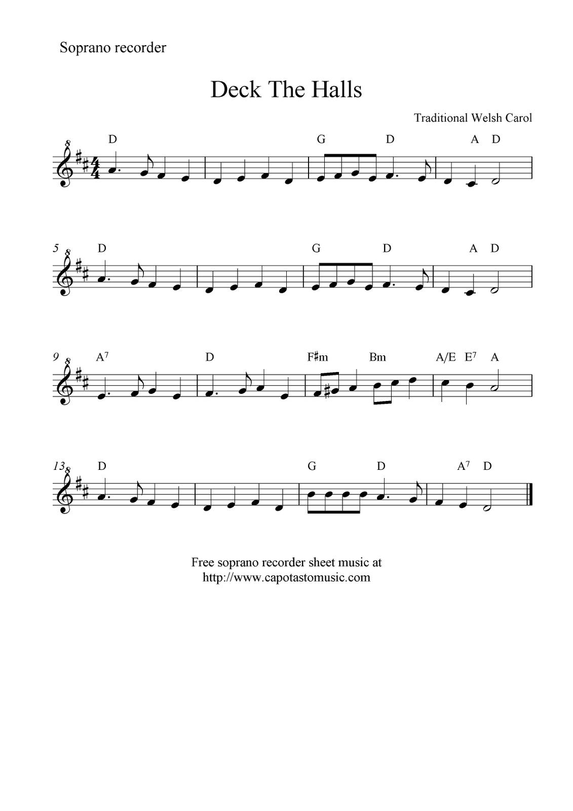 Deck The Halls -- Free Recorder Sheet Music   Music Class   Free - Free Printable Recorder Sheet Music For Beginners