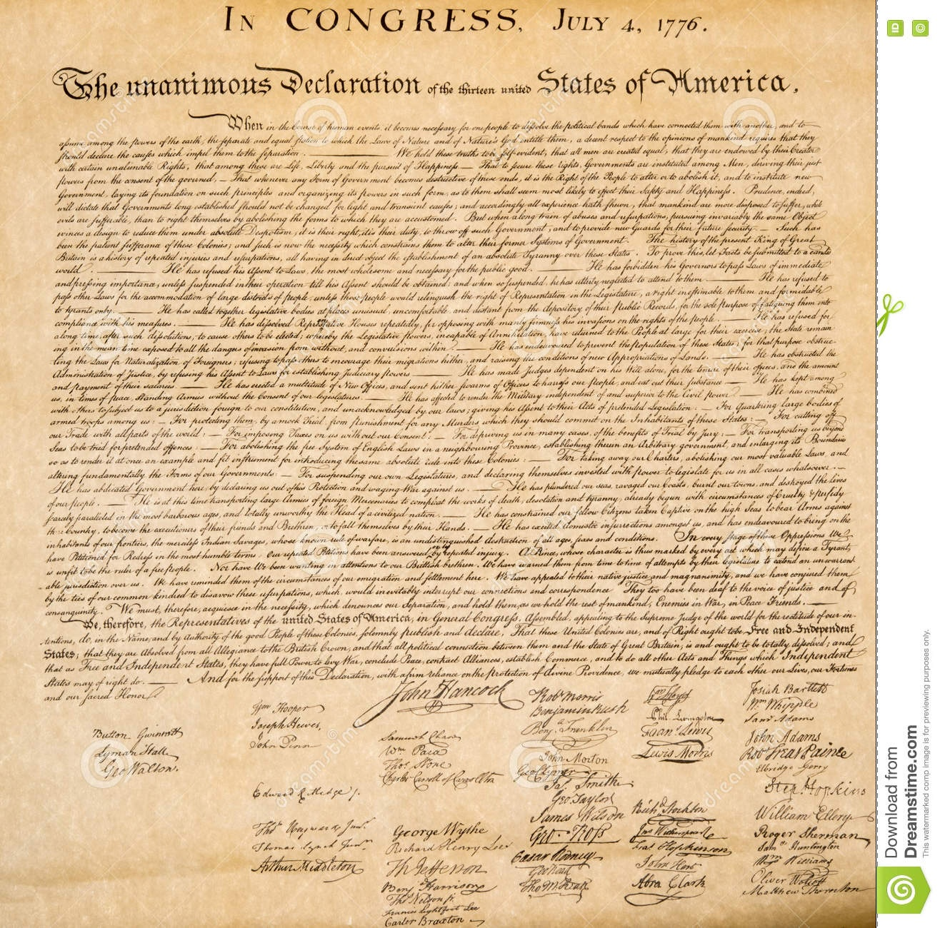 Declaration Of Independence 4Th July 1776 Close Up Stock Image - Free Printable Copy Of The Declaration Of Independence