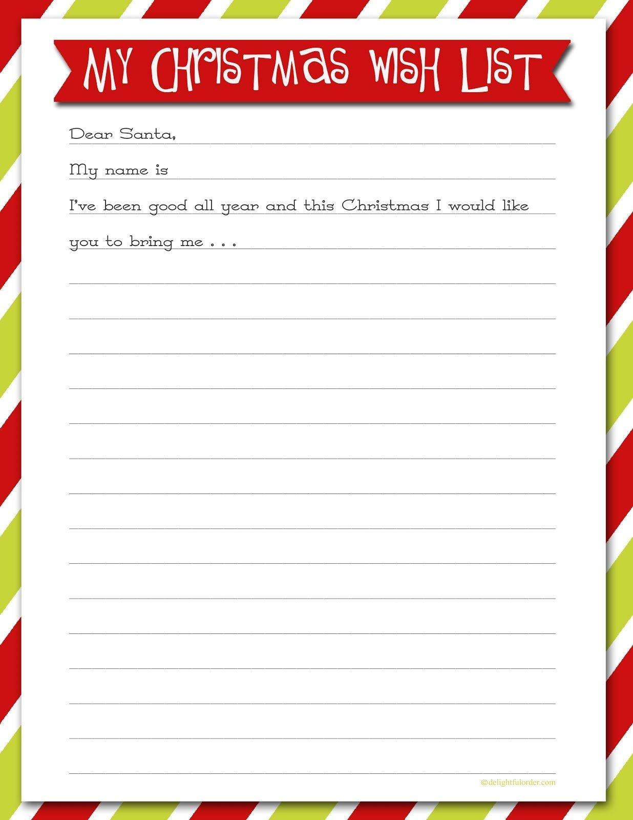 Delightful Order: Christmas Wish List - Free Printable   Delightful - Free Printable Christmas Wish List