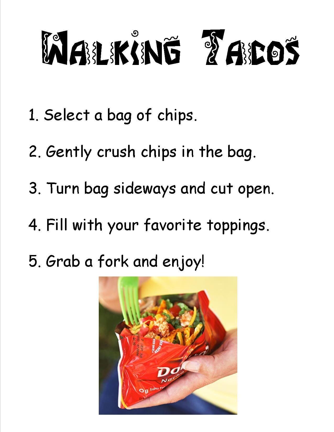 Directions For A Walking Taco Bar. Print This Out And Place In A - Free Printable Taco Bar Signs