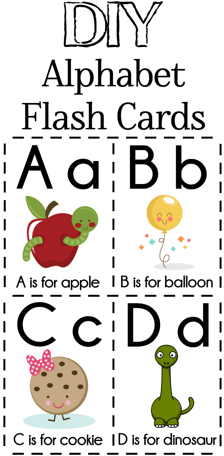 Diy Alphabet Flash Cards Free Printable | Plays | Preschool Learning - Free Printable Abc Flashcards With Pictures