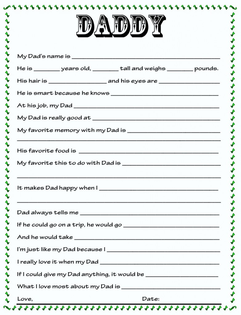 Diy} Father's Day Questionnaire - In The Know Mom - Free Printable Dad Questionnaire