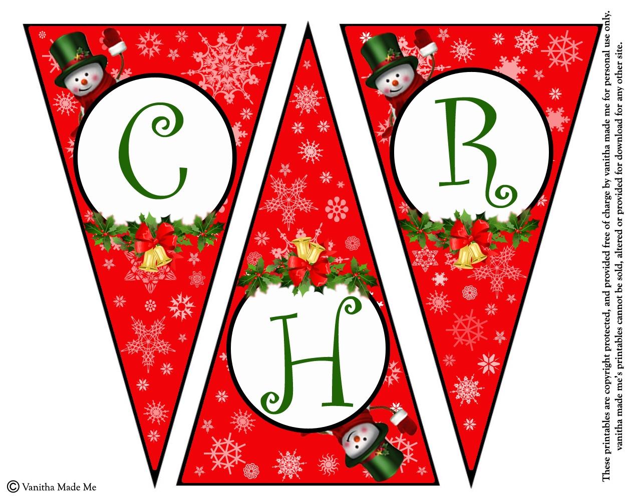 Diy Free Printable Christmas Banner | Vanitha Made Me - Free Printable Christmas Banner