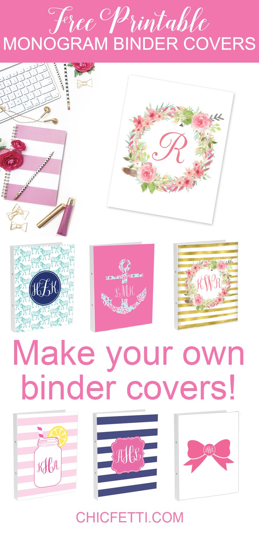 Diy Monogram Binder Covers Using Free Monogram Maker - Chicfetti Blog - Free Printable Customizable Binder Covers