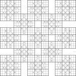 Double Harakiri Sudoku X   Free Printable Samurai Sudoku