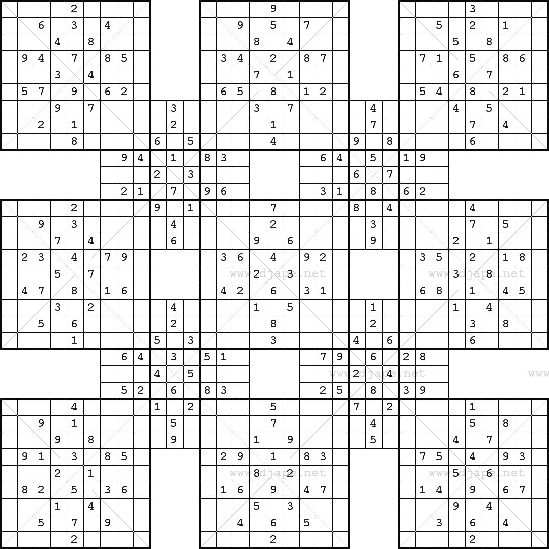 Double Harakiri Sudoku X - Free Printable Samurai Sudoku
