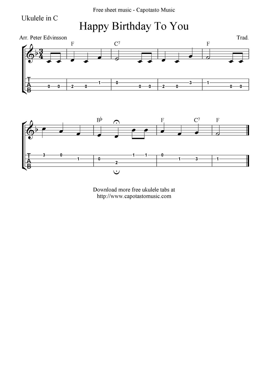 """✓""""happy Birthday To You"""" Ukulele Sheet Music - Free Printable - Free Printable Ukulele Songs"""