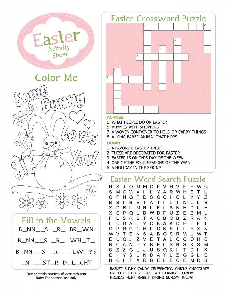 Easter Kids Activity Sheet Free Printable From Wasootch 791X1024 - Free Printable Activities For Adults