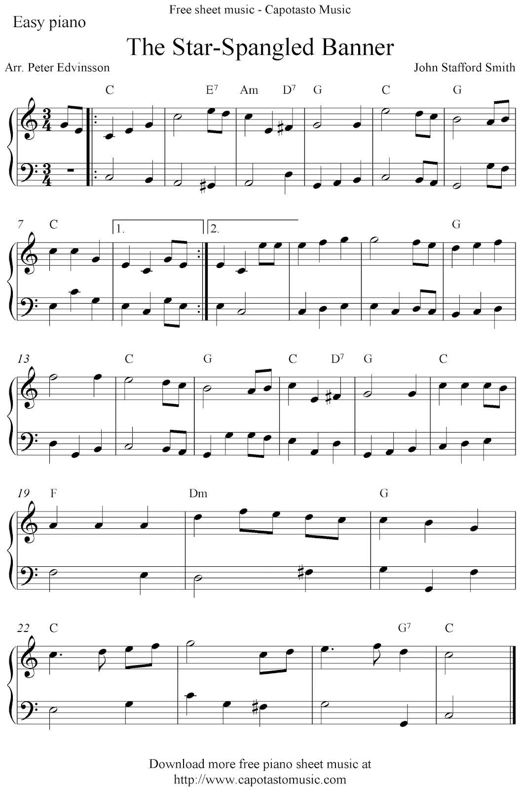 Easy Free Piano Sheet Music Solo Arrangementpeter Edvinsson Of - Free Printable Piano Sheet Music For The Star Spangled Banner