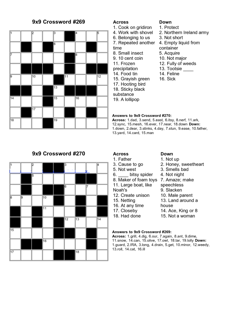 Easy Kids Crossword Puzzles   Kiddo Shelter   Educative Puzzle For - Free Printable Crossword Puzzles For Kids
