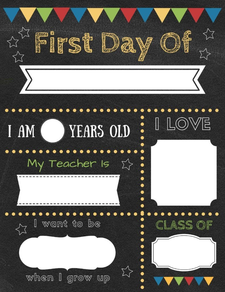 Editable First Day Of School Signs To Edit And Download For Free - First Day Of Kindergarten Sign Free Printable