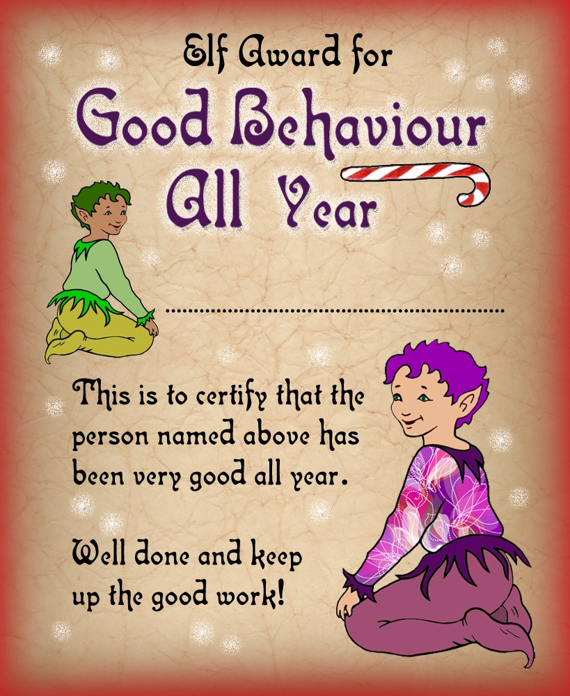 Elf Certificate: Award For Good Behaviour All Year   Rooftop Post - Good Behaviour Certificates Free Printable