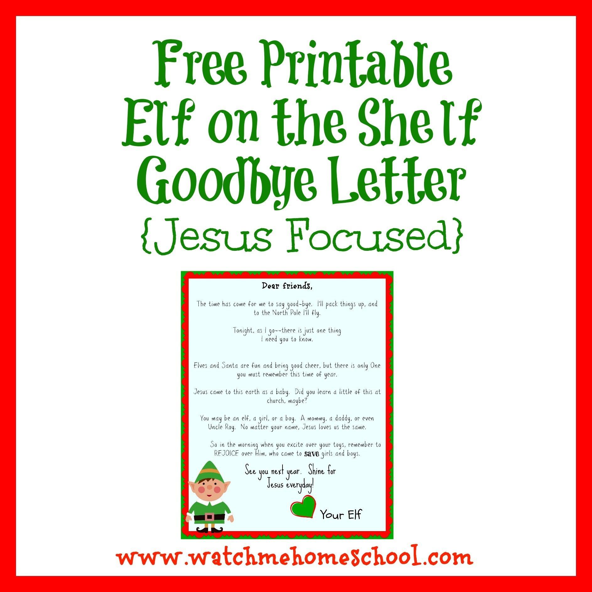 Elf On The Shelf Farewell Letter Printable   Elf On The Shelf   Elf - Elf On A Shelf Goodbye Letter Free Printable