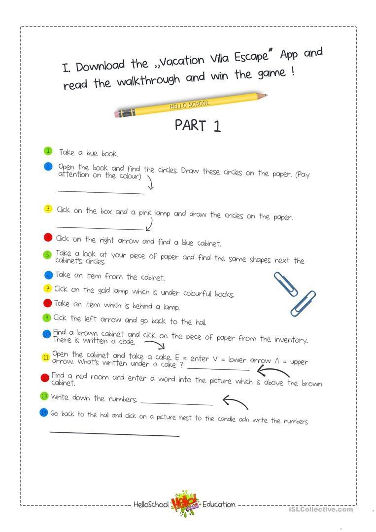 Escape Room Game Worksheet - Free Esl Printable Worksheets Made - Printable Escape Room Free