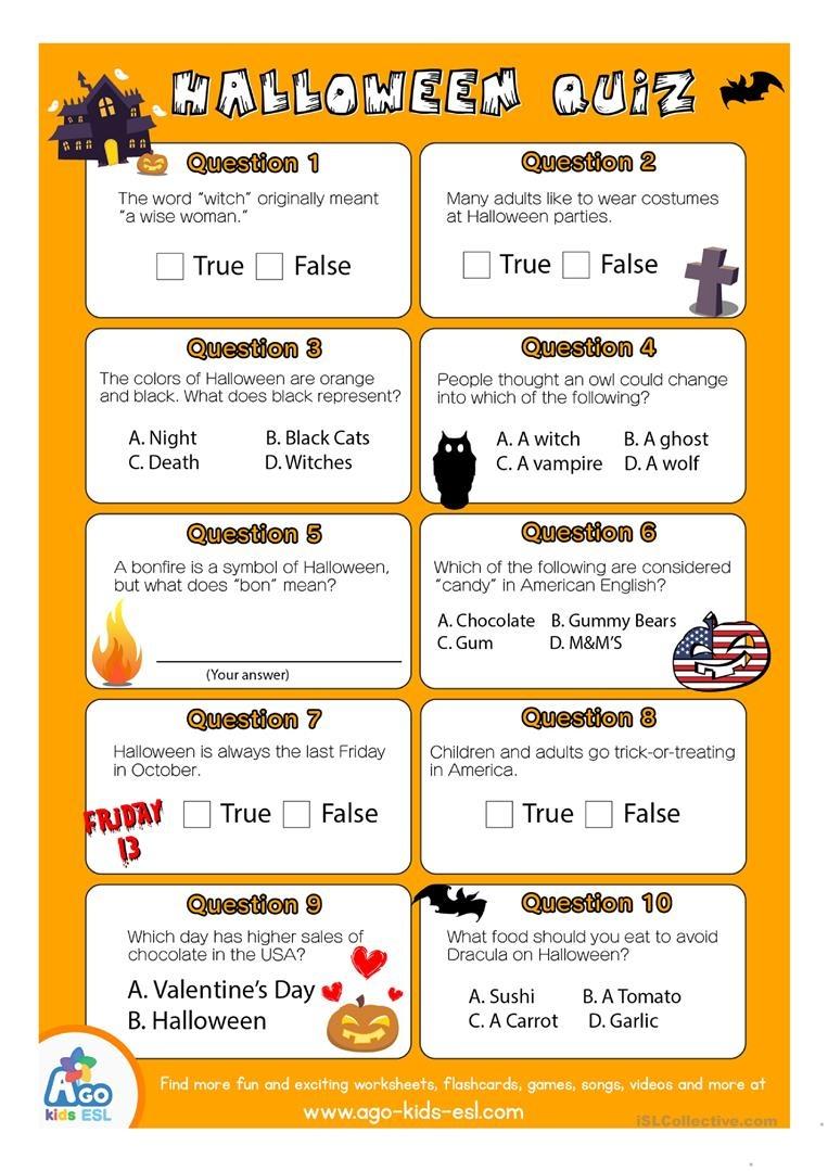 Esl Halloween Quiz Worksheet For English Class Worksheet - Free Esl - Free Printable Halloween Quiz