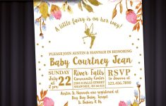 Fairy And Floral Theme Baby Shower Invitation With Tinkerbell | Etsy – Free Printable Tinkerbell Baby Shower Invitations