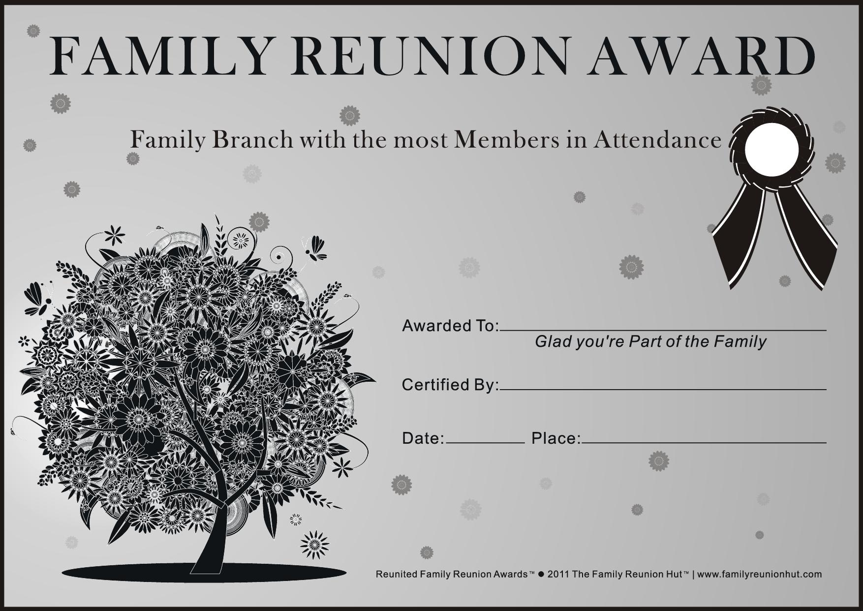 Family Reunion Ideas   Family Reunion Certificates - Oak Passion 2 - Free Printable Family Reunion Awards