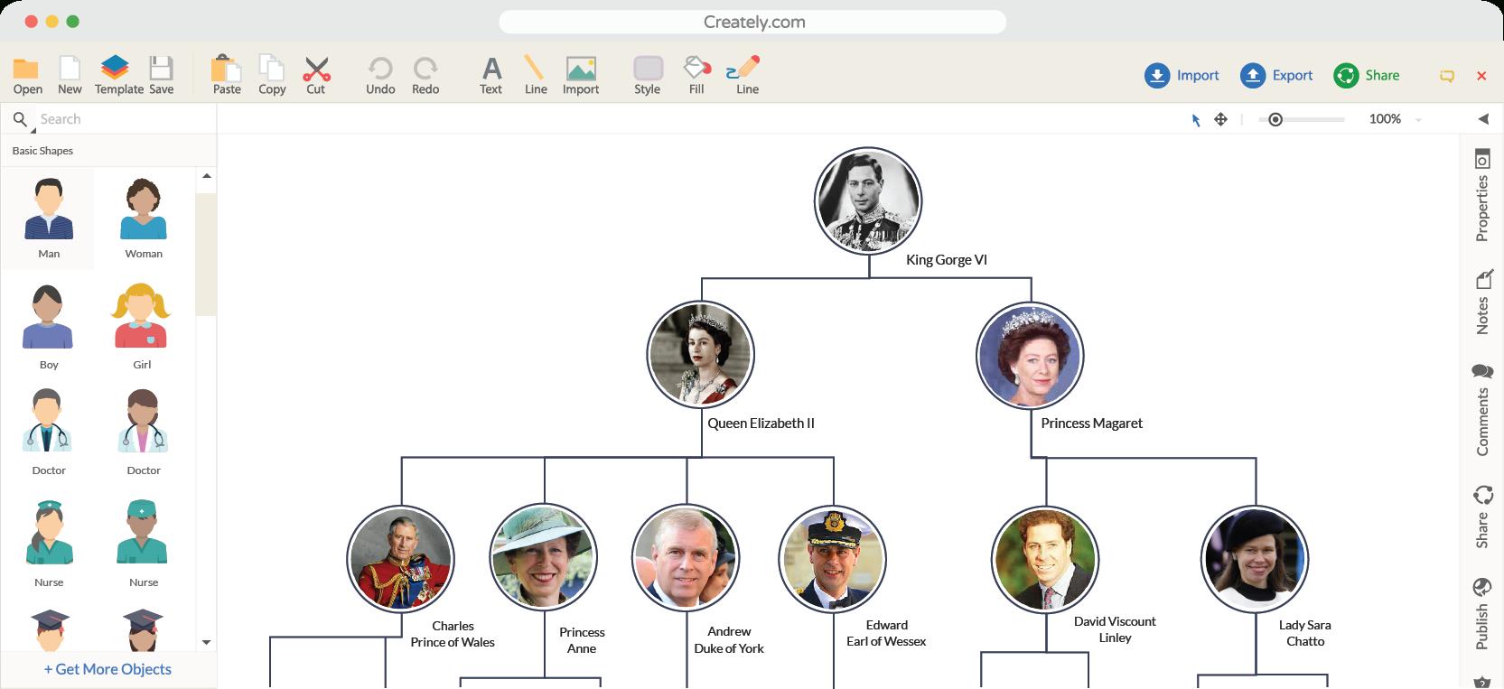 Family Tree Maker | Creately Family Tree Online | Creately - Family Tree Maker Online Free Printable
