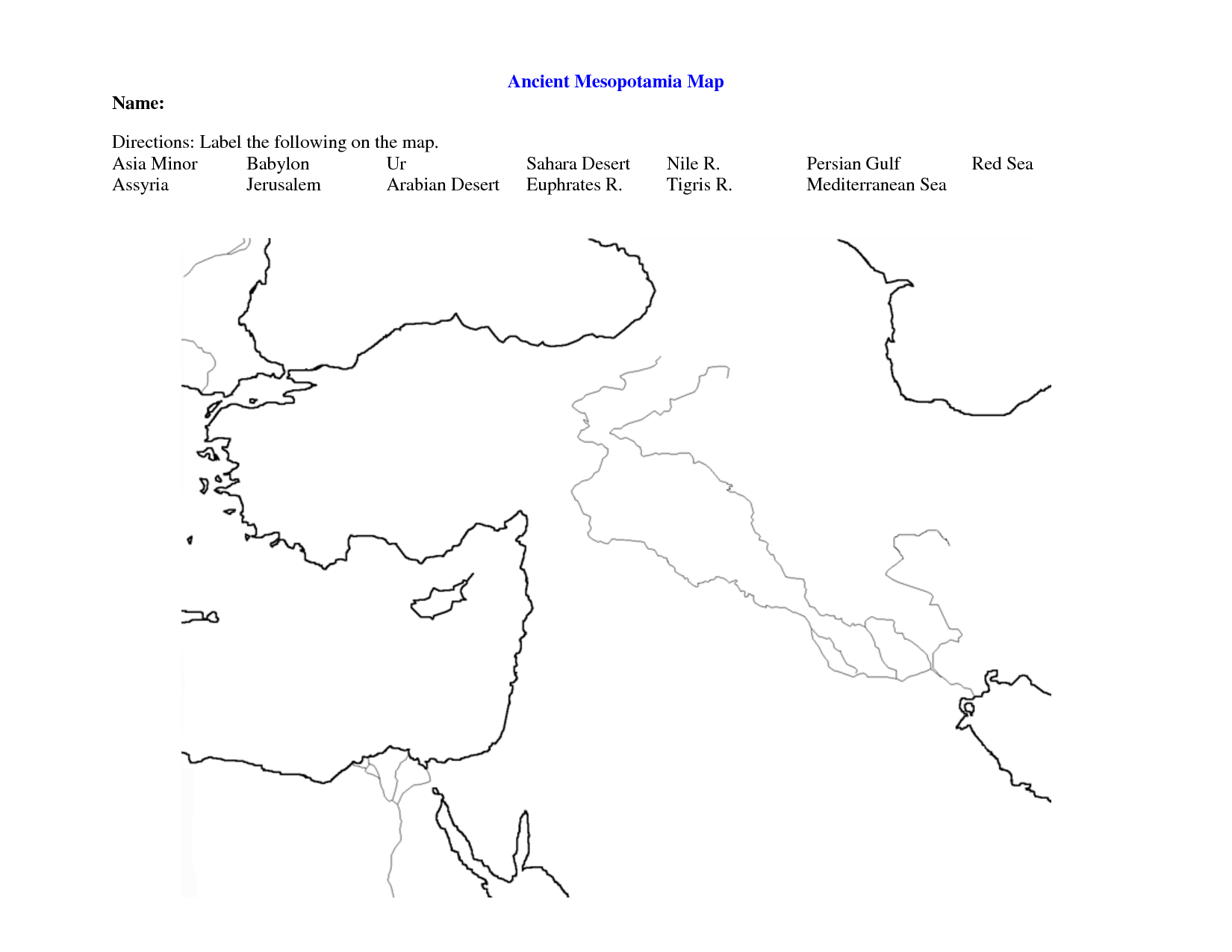 Fertile Crescent Map Worksheet - Google Search   World History 9 - Free Printable Map Of Mesopotamia